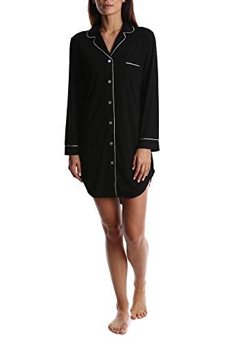 Blis Women's Long Sleeve Classic Button Down Pajama Sleepshirt Nightgown Chemise Black Small