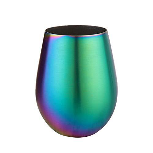 Facynde Vasos para Beber Vino, Multicolor Iridiscente sin Tallo Hogar 304 Acero Inoxidable de una Sola Capa Chapado en Color Estuche para Huevos de Vientre Grande Vaso de Vino Tinto Taza de Cerveza