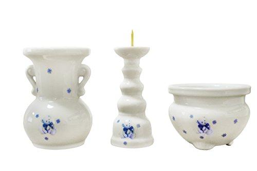 ペット仏具 ミニ仏具 3点セット ベア くま柄 花器 香炉 ろうそく立て ブルー 香炉灰つき