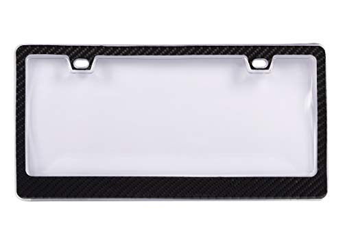 BLVD-LPF OBEY YOUR LUXURY Genuine 100% Carbon Fiber License Plate Frame TAG Cover 3K with Clear Cover 2 in 1 Real Carbon Fiber and Unbreakable Cover Patent