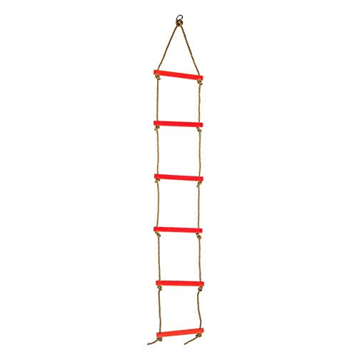 Alomejor Scaletta da Arrampicata per Bambini Scala di Corda per Bambini Arrampicata su Telaio Casa Sull'albero Dens And Play House(Rosso)