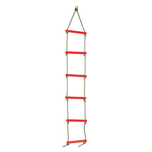 Alomejor Kinder Kletterleiter Kinder Strickleiter Garten Strickleiter Klettergerüst ideal für Klettergerüste Baumhausdichten und Spielhaus(rot)