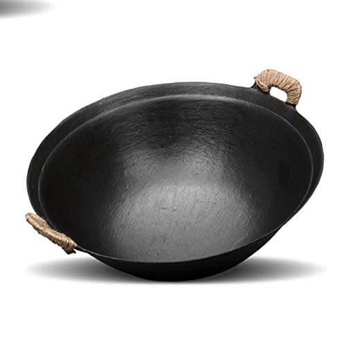 Wok de Hierro Fundido biauricular Antiadherente para el hogar Sartén de Hierro Fundido sin Revestimiento 32cm 40cm para Estufa de Gas 40CM