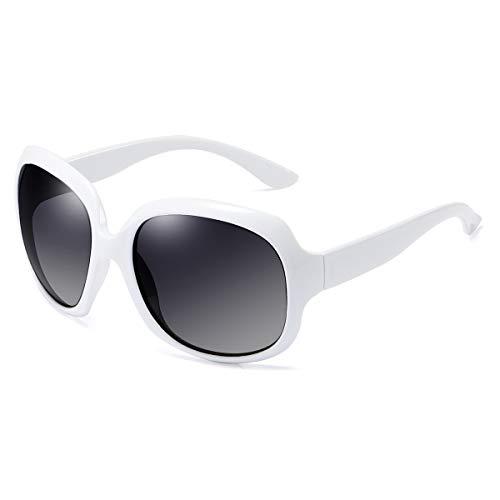 GUANGE Gafas de sol para mujer, de gran tamaño, polarizadas, protección UV400, gafas de sol para mujer, de gran tamaño, de moda, para conducir, regalos para damas, color blanco