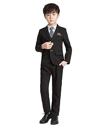 Traje para Niño Boda Ceremonia Conjunto, Blazer + Chaleco + Camisa Manga Larga + Pantalones + Corbata Conjunto de Traje de 5 Piezas Traje de Fiesta,Negro-5 Piezas,120