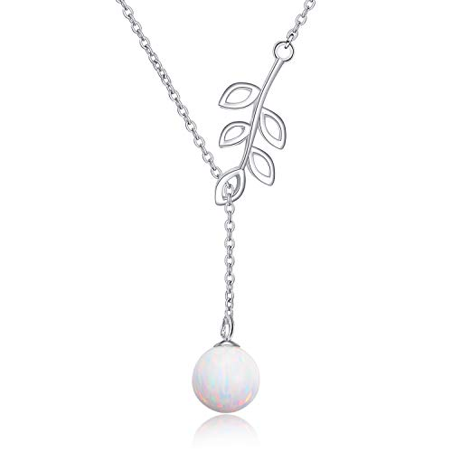 Y Lariat Necklace Sterling Silver Olive Leaf Drop Opal Pearl Pendant Jewellery Gifts for Women
