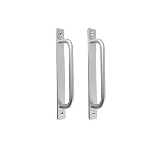 2 tiradores de puerta de granja para puerta cortafuegos, tiradores de puerta de armario, apertura por pulsador, plata, distancia de 192 mm