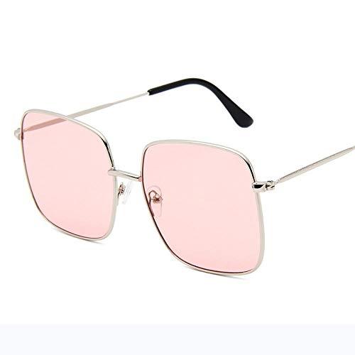 DLSM Gafas de Sol Square Grandes Gafas de Sol Mujeres aleación Retro Marco Grande Gafas de Sol Vintage gradiente Masculino Apto para Senderismo Gafas de Sol de Pesca de Golf-Rosa Plateado