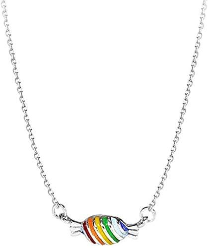 YZXYZH Collar Lindo Dulce Arco Iris Caramelo Colgante Regalo Cadena De Clavícula Collar Femenino Collar
