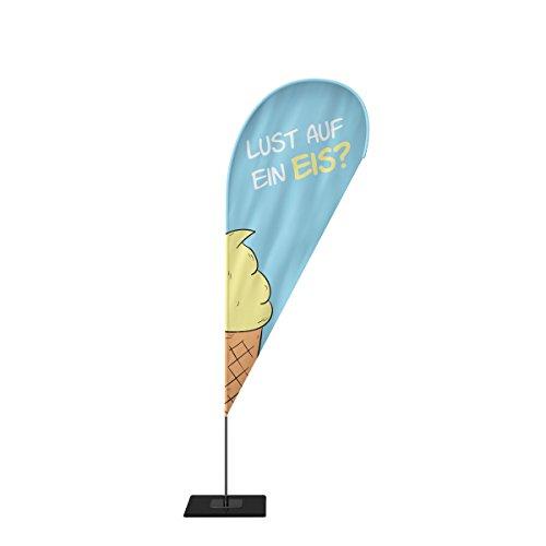 Beachflag Eis Werbefahne Fahne Strandfahne mit Mast 4 Größen 3 Modelle Motiv 2 (M, Tropfen)