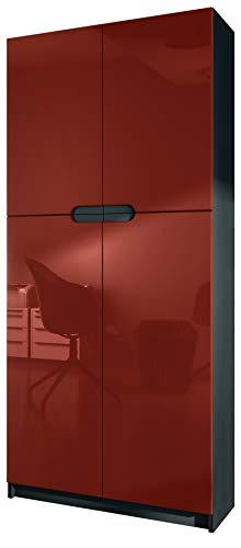 Vladon Büroschrank Aktenschrank Büromöbel Logan, Korpus in Schwarz matt/Fronten in Bordeaux Hochglanz
