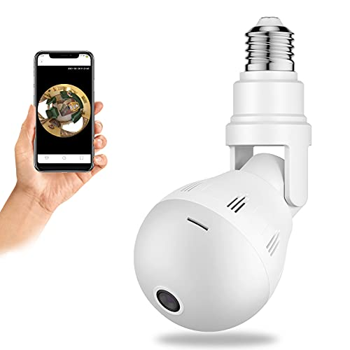 Light Bulb Camera WiFi, SYMYNELEC 360 Degree Panoramic Smart Security Remote IP Camera, 2.4Ghz 1080P Indoor Outdoor Sensor Monitor with Two-Way Audio Video Night Vision Motion Detection E27
