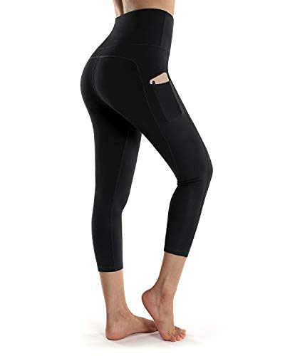 OUGES Womens High Waist Pockets Yoga Pants Running Workout Capris Leggings(Black Capris 20inch,S)
