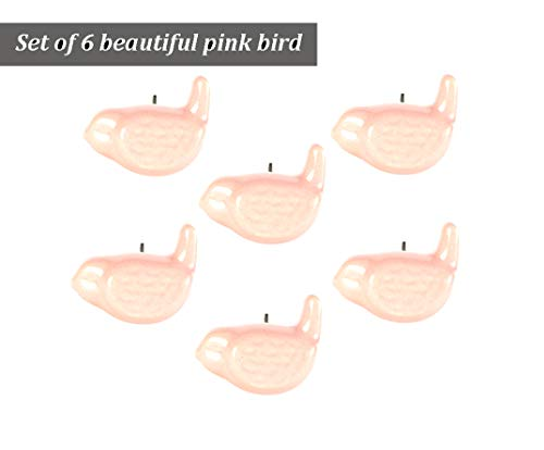 Set of 6 Handmade Ceramic Pink Bird Knob Artistic Rust Free Kitchen Knobs for Cabinets Drawer Pull for Cupboard Dresser Wardrobe by Perilla Home