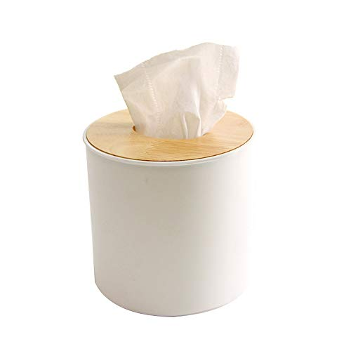 UANDM Opbergdoos Eenvoudig Rond Papier Handdoek Doos Creatieve Servet Papieren Doos Roll Papier Doos Rond Effen Hout Deksel Doos