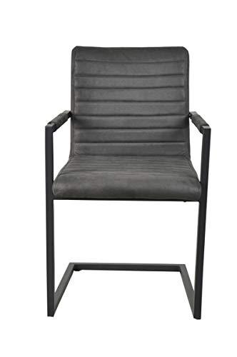 Sit Möbel Sit&Chairs armleuningstoel, 2-delige set overtrek wildlederlook, stalen frame L = 55 x B = 57 x H = 89 cm bekleding bruin, frame antiek zwart