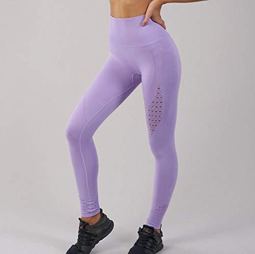 B/H Pantalones de Yoga elásticos rápido y Transpirables,Pantalones de Yoga sin Costuras de tiburón,Costura de Mallas para Correr Huecas-Color_3_L,Pantalones de chándal elásticos Yoga Sport Fitness