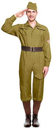 Mens Green Wartime Soldier Uniform WW1 WW2 Historical Military Army Fancy Dress Costume Outfit (X-Large)