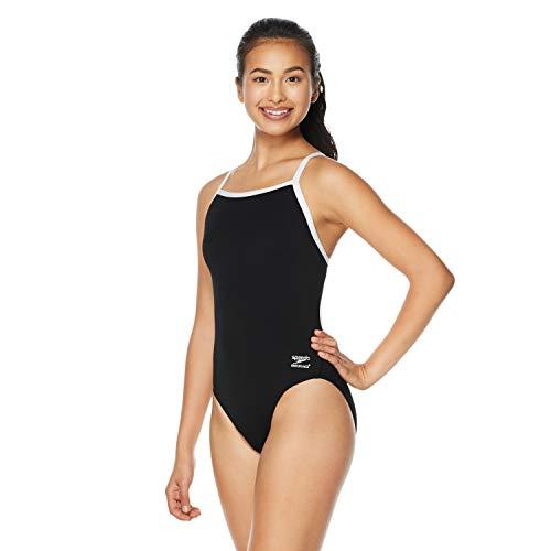 Speedo Women's Swimsuit One Piece Endurance+ Flyback Solid Adult Team Colors,Speedo Black,28