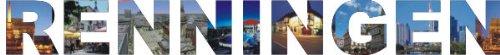 PEMA INDIGOS UG - Wandtattoo Wandsticker Wandaufkleber - Aufkleber farbige Wandschrift Städtename Städtename Renningen mit Sehenswürdigkeiten 180 x 20 cm Länge