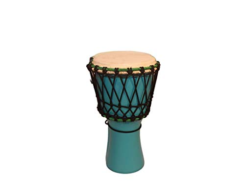 Star Musical And Handicraft Djembe 8 Inch African Hand Drums (Tribal Dholki) Deep Carved from Single Piece Mango Wood - Blue Color (8 x 16 Inches) - Ideal for Age group of 5 to 12
