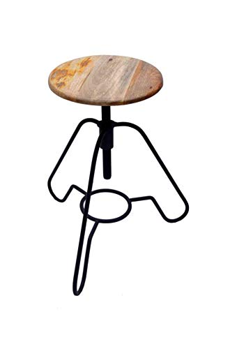 """AVYAN AARI FURNITURE Modern 17"""" Wooden Metal Bar Stool - Metal Round Leg with Round Wood Seat   Best for bar, Cafe, Restaurant, Dining Room, Indoor Outdoor Patio Furniture   Modern Industrial Style"""