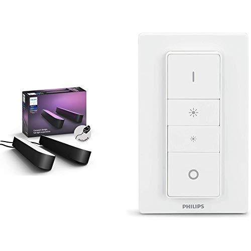 Philips Lighting Hue Play Lampada LED Connessa, Unità Base con Alimentatore, 2 Pezzi, Nero & Telecomando Dimmer Switch…