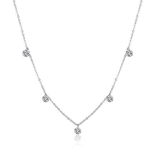 NNNDNDN 925 Silver Coker Rhinestone Pendant Necklace Round Crystal Women Chain Sterling Silver Jewelry|choker necklace|necklace womennecklace