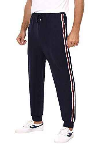 Hawiton Pantalon de Sport Homme Longue Bas de Survêtement Coton Jogging Décontracté Sweatpants Rayé,Grande Taille* Bleu Marine,XL