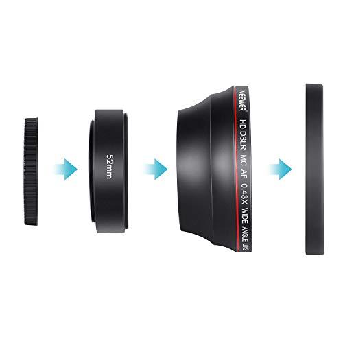 Neewer 58MM 0.43x Professional HD Wide Angle Lens (Macro Portion) for Canon EOS Rebel 77D T7i T6s T6i T6 T5i T5 T4i T3i T3 SL1 1100D 700D 650D 600D 550D 300D 100D 60D 7D 70D