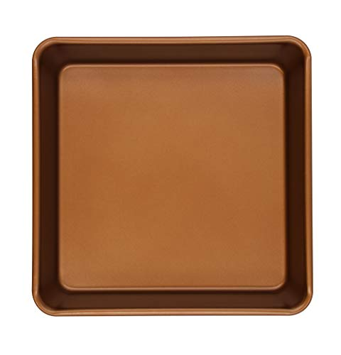 Chef Select Premium Square Cake Pan, 9-Inch, Non-Stick, Heavy Duty Steel, Copper Color Bakeware - Brownies, Candle Base, Centerpiece