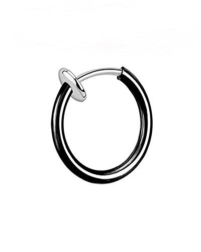Faux piercing en titane avec clip en forme de septum 1,6 x 10 mm, Noir