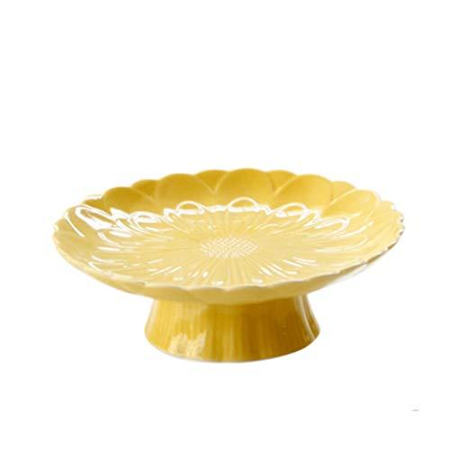 DAGONGREN Vajilla de cerámica Plato de Postre Amarillo Hogar Cocina Flor Imagen Plato Plato de Cena Creativo Plato de Fruta de gelatina