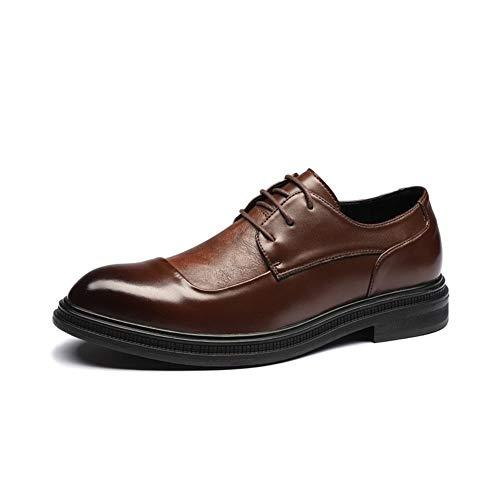 CAIFENG Vestido formal de Oxfords para hombre con cordones y costuras de piel sintética, estilo británico, suela de goma (color: marrón, talla: 42 EU)