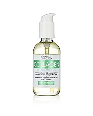 Advanced Clinicals Collagen Lifting Body Oil with Vitamin C, Vitamin E fo neck, decollete, upper arms, thighs 3.8 fl.oz. (112ml)