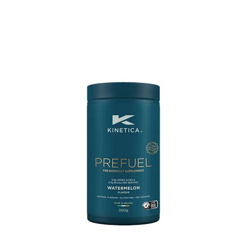 Kinetica PreFuel Pre-Workout Pulver Wassermelone 300g, Pre-Workout Booster für Sportler, Für die Anwendung vor dem Training, Zuckerfrei, Gute Löslichkeit u. reiner Geschmack