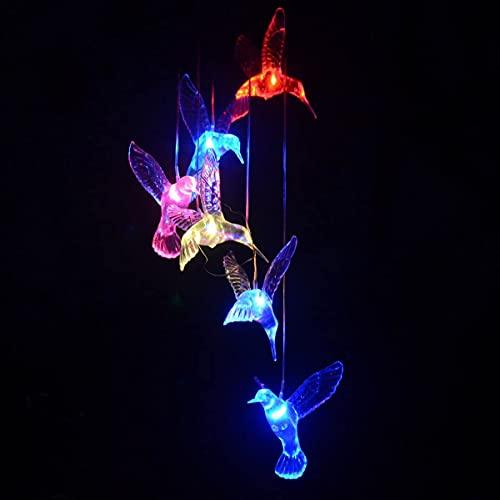 Medog Wind Chimes Color Changing Hummingbird Wind Chime Light Solar Led Night Light Blue Hummingbird Wind Chimes ( bird)