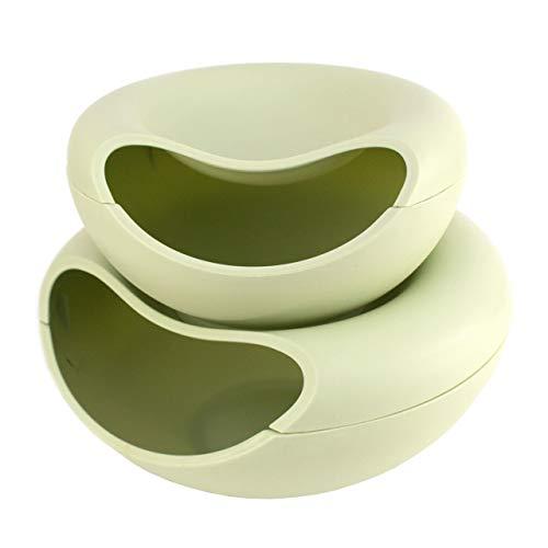 Lantelme Snackschale und Obstschale Set in grün für Obst Snack Schale Ablage als Servierschale Abfallbehälter 6721