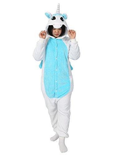 Einhorn Pyjamas Kostüm Jumpsuit Tier Schlafanzug Erwachsene Unisex Fasching Cosplay Karneval (Large, Blau Einhorn)