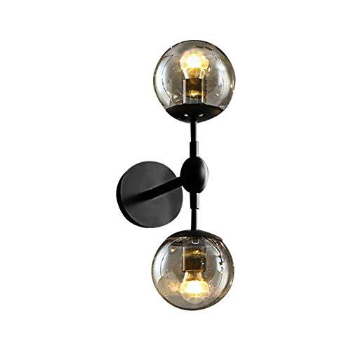 BAYCHEER industrial Global Wall Sconce Light, moderna lámpara de pared negra y de hierro con pantalla de vidrio para la cabecera del dormitorio vestíbulo -2 luz
