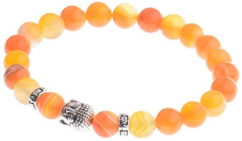 FLYAND Pulsera de Piedra Mujer, 7 Chakra Piedra Natural Beads Orange Spinel Bangle Elástico Ora Buda Joyería Joyería Yoga Energía Balance Reiki Unlimited Charm Regalo para Hombres