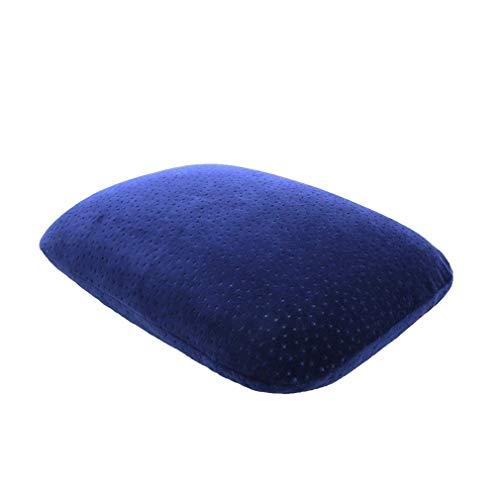 ALGWXQ Petit Oreiller Mousse Mémoire Portable Pause Déjeuner Étudiante Bureau Siège Ménage Couleur Unie Amovible Coussin Dorsal,3 Couleurs (Color : A-Blue, Size : 40x27cm)