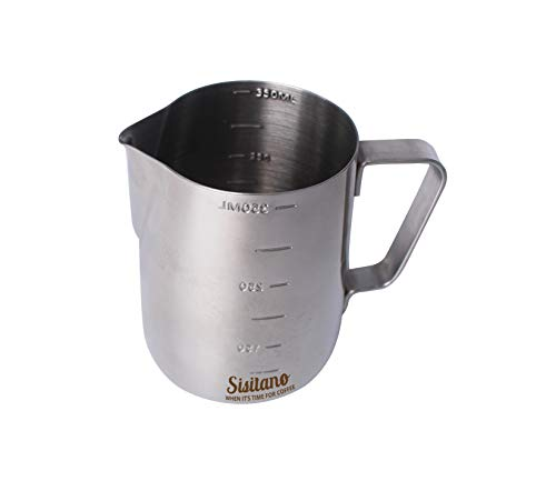 Sisitano Stainless Steel Milk Frothing Pitcher - Espresso Milk Steaming Pitcher 12oz 350ml Milk Frother Pitcher With Drip Control For Perfect Coffee-Art Every Time
