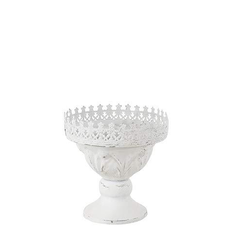 Affari Chantal Topf Schale Pokal weiß Eisen Shabby Vintage Garten Deko 15 x 15 cm