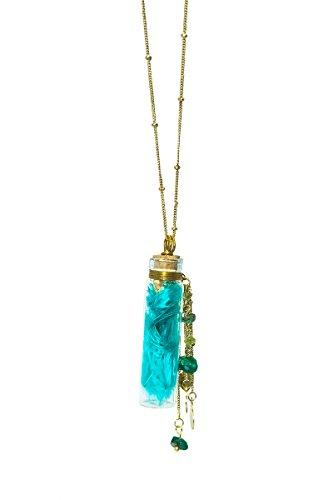 Halsketting met glazen flesjes - turquoise - Fair Trade
