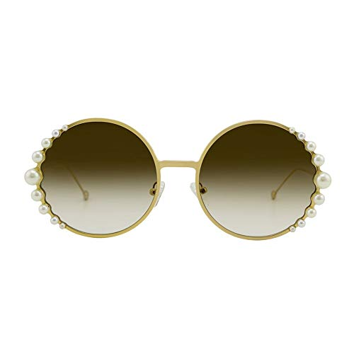 WHSS Sunglasses Gafas De Sol Redondas con Lentes De Metal Dorado UV400