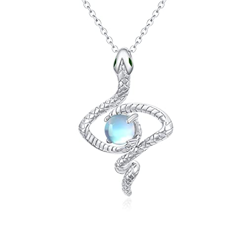 Snake Necklace for Women,925 Sterling Silver Shining Winding Snake with Moonstone Pendant Cute Animal Jewelry Gifts for Women Girls Teen