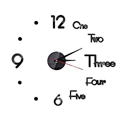 Hooqict DIY Wall Clock Frameless Mirror 3D DIY Creative Wall Clock DIY Clock for Living Room Bedroom Wall Outdoor Home Office School Decorations Black