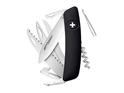SWIZA 691302 Schweizer D09, Schwarz Messer, Silber, 17cm