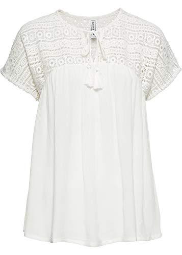 bonprix Kurzärmlige Tunika mit Spitze und Bindeband am Ausschnitt wollweiß 40 für Damen